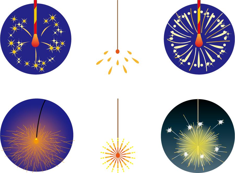 フリーイラスト 6種類の線香花火のセット