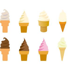 フリーイラスト, ベクター画像, AI, 食べ物(食料), 菓子, 洋菓子, スイーツ, アイスクリーム, ソフトクリーム