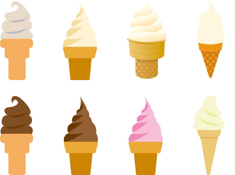 フリーイラスト 8種類のソフトクリームのセット
