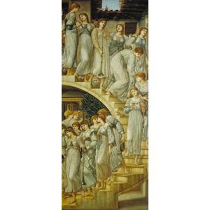 フリー絵画, エドワード・バーン=ジョーンズ, 女性, 人込み(人混み), 階段, 音楽, 楽器