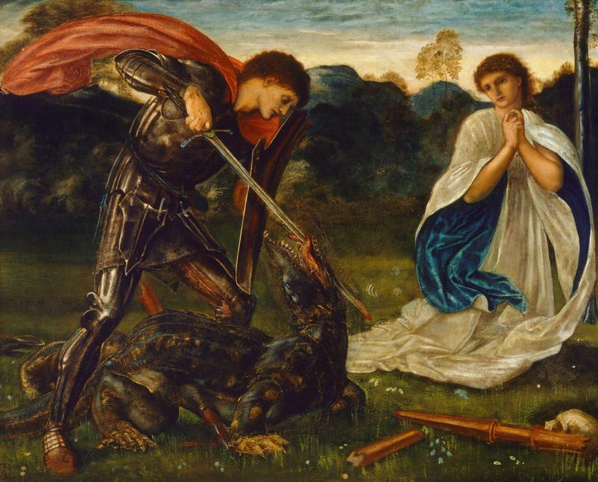 フリー絵画 エドワード・バーン=ジョーンズ作「闘い:龍を退治する聖ゲオルギウス」