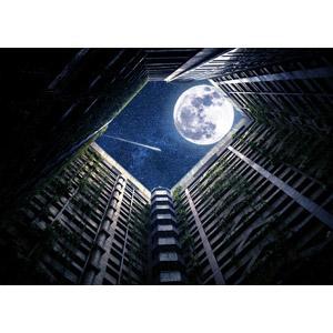 フリー写真, 風景, 建造物, 建築物, 高層ビル, 住宅, マンション(団地), 夜, 星(スター), 月, 満月, 流れ星(流星), フォトレタッチ
