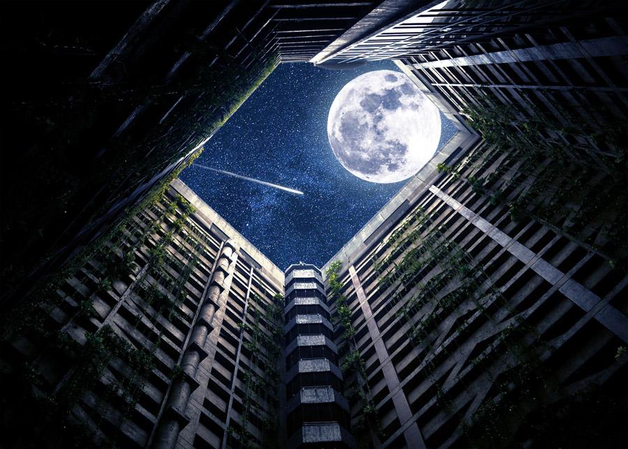 フリー写真 建物の吹き抜けから見える月と流れ星