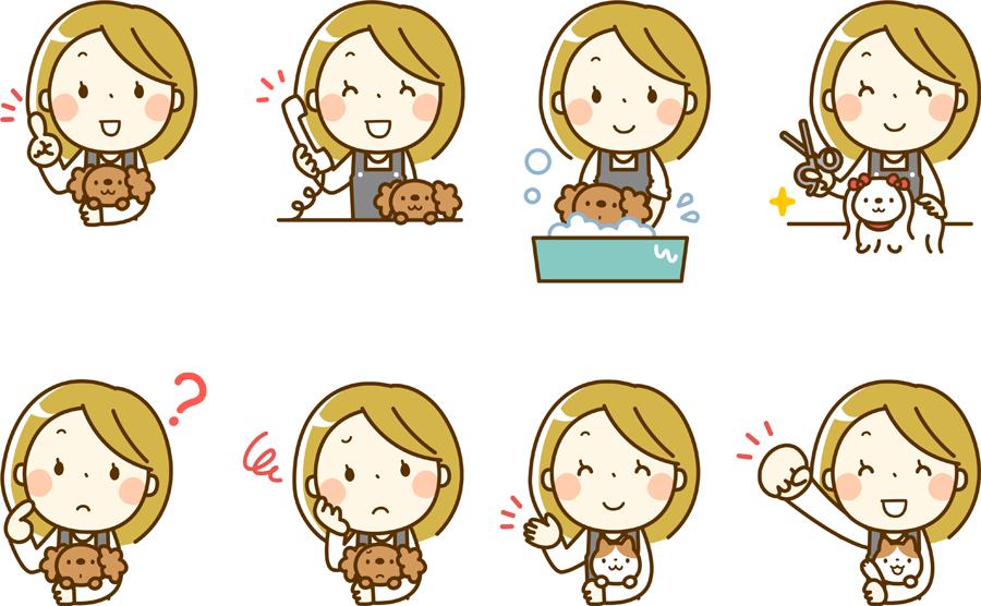 フリーイラスト 8種類の動物とペットトリマーの女性のセット