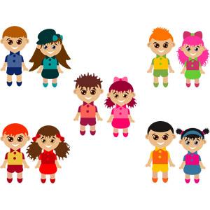 フリーイラスト, ベクター画像, AI, 人物, 子供, 男の子, 女の子, カップル