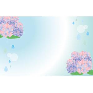 フリーイラスト, ベクター画像, AI, 背景, フレーム, 左右フレーム, 梅雨, 6月, 雨, 紫陽花(アジサイ)