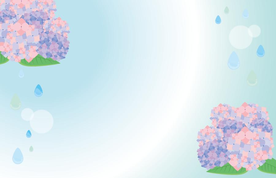 フリーイラスト あじさいの花と雨粒の梅雨の季節の飾り枠