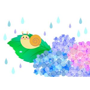 フリーイラスト, ベクター画像, AI, 背景, 梅雨, 6月, 紫陽花(アジサイ), 雨, カタツムリ