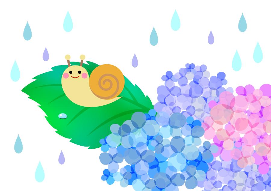 フリーイラスト 雨の中の紫陽花とかたつむり