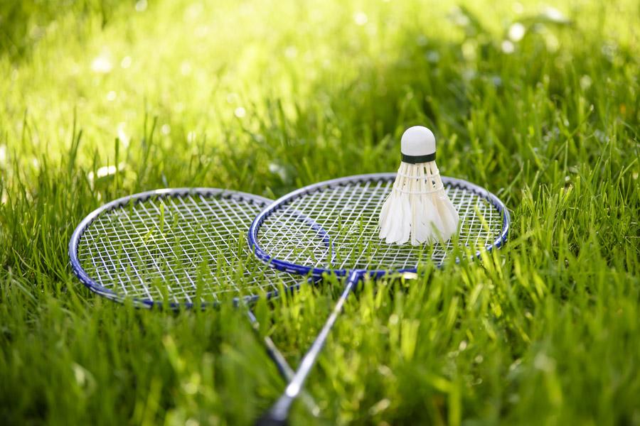 フリー写真 芝生の上のバドミントンのラケットとシャトル