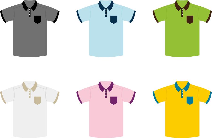 フリーイラスト 6色のポロシャツのセット