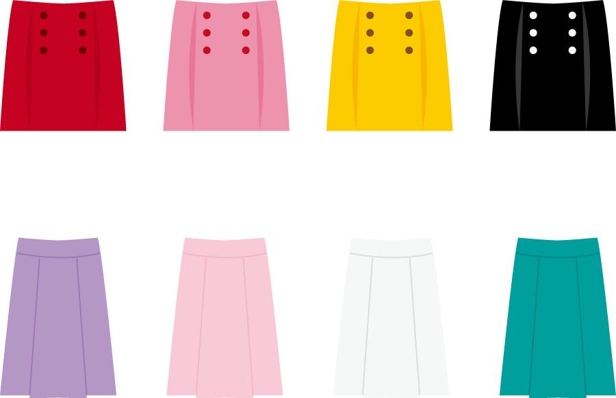 フリーイラスト 8種類のスカートのセット