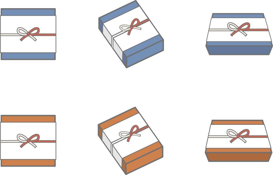 フリーイラスト 6種類ののし紙に包まれた贈り物のセット