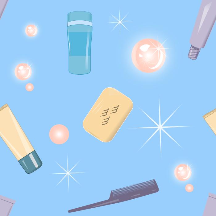 フリーイラスト 石鹸や洗顔フォームなどの衛生用品の背景