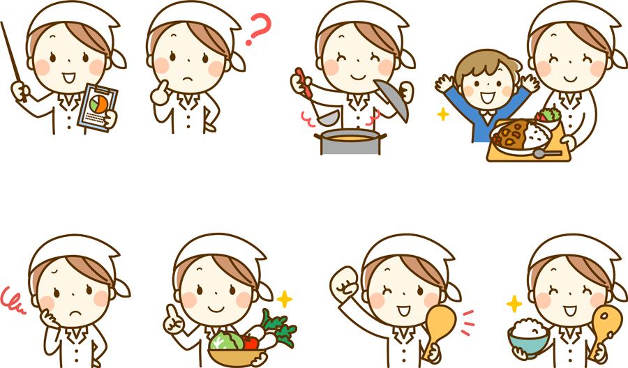 フリーイラスト 8種類の調理師の女性のセット