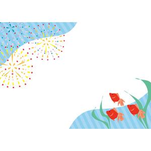 フリーイラスト, ベクター画像, AI, 背景, フレーム, 対角フレーム, 夏, 花火, 打ち上げ花火, 魚(サカナ), 金魚(キンギョ)