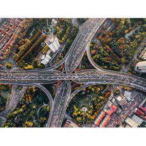 フリー写真, 風景, 建造物, 道路, 高速道路, ジャンクション, 渋滞, 中国の風景, 上海市