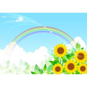 フリーイラスト, ベクター画像, AI, 背景, 夏, 虹, 青空, 積乱雲(入道雲), 新緑, 葉っぱ, 花, 向日葵(ヒマワリ), 黄色の花, 植物