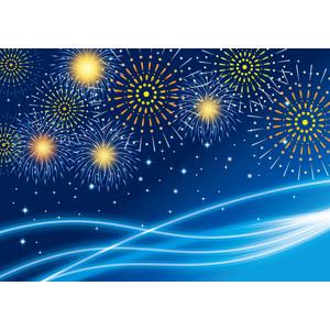 フリーイラスト, ベクター画像, AI, 背景, 花火, 打ち上げ花火, 波線, 夜, 青色(ブルー)