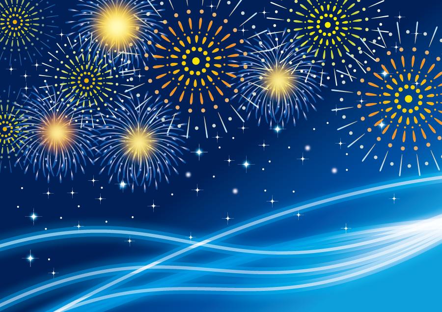 フリーイラスト 打ち上げ花火と青色の波線の背景