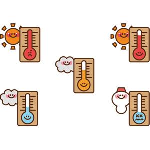 フリーイラスト, ベクター画像, AI, 天気, 太陽, 雲, 雪だるま, 暑い, 寒い, 温度計