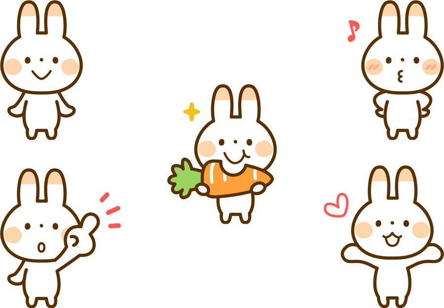 フリーイラスト 5種類のウサギのキャラクターのセット
