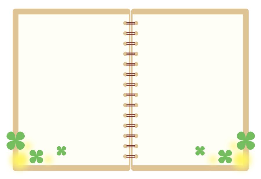 フリーイラスト 四つ葉のクローバーとノートの背景
