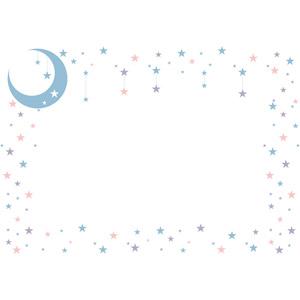 フリーイラスト, ベクター画像, EPS, 背景, フレーム, 囲みフレーム, 月, 三日月, 星(スター)