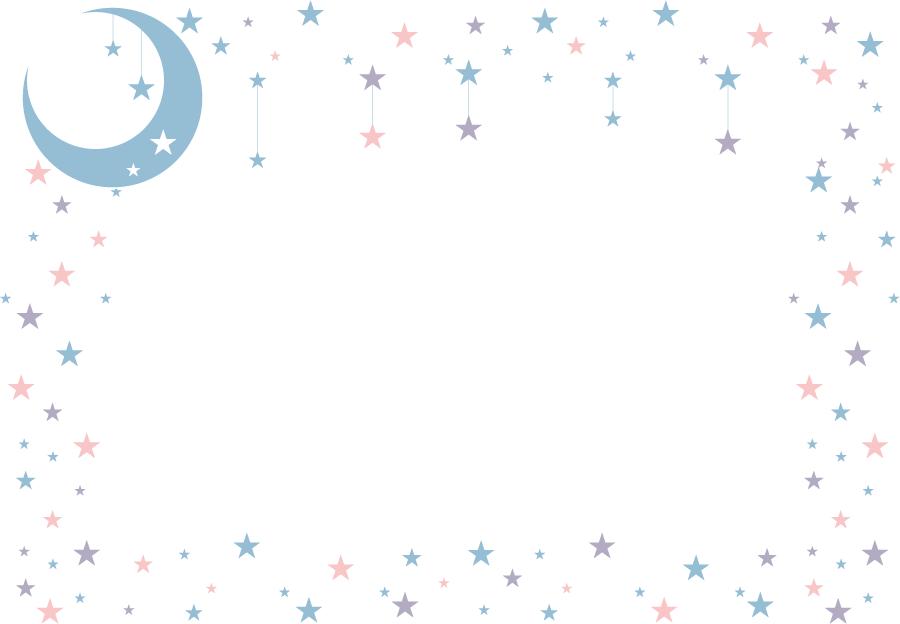 フリーイラスト 月と星のフレーム
