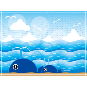 フリーイラスト, ベクター画像, EPS, 背景, 海, 夏, 動物, 哺乳類, 鯨(クジラ), 親子(動物)