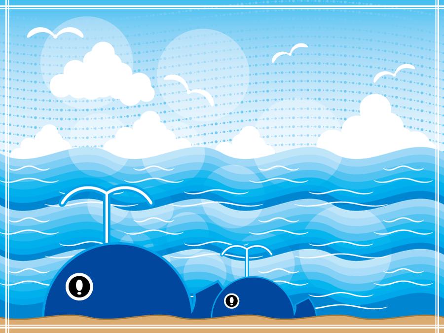 フリーイラスト 海とクジラの親子の背景