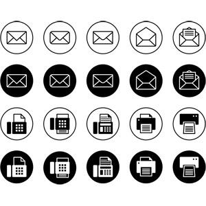 フリーイラスト, ベクター画像, アイコン, 電子メール(Eメール), FAX(ファックス), ビジネス
