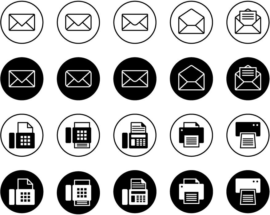 フリーイラスト 20種類のメールとFAXのアイコンのセット