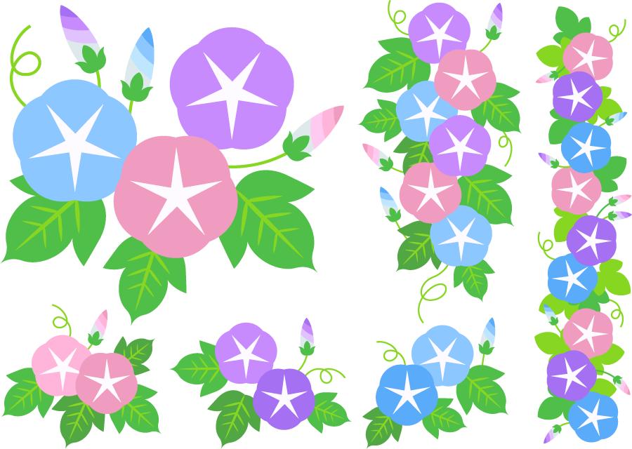 フリーイラスト 三色のアサガオの花のセット