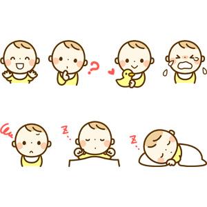 フリーイラスト, 人物, 子供, 赤ちゃん, 分からない, ラバーダック, 泣く(泣き顔), 不機嫌, 喜ぶ(嬉しい), 寝る(寝顔), 仰向け, うつ伏せ