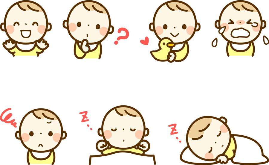 フリーイラスト 眠るなどの7種類の赤ちゃんのセット