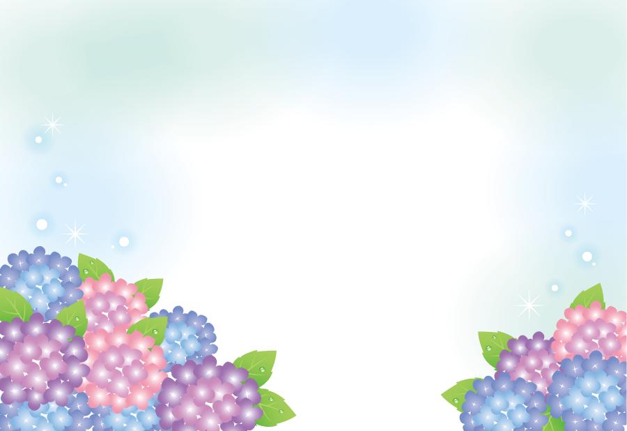 フリーイラスト 梅雨の風物詩のあじさいの花の背景