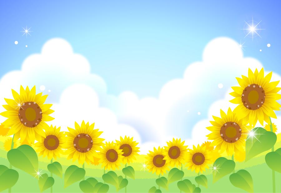 フリーイラスト 入道雲とひまわり畑の風景