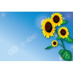フリーイラスト, ベクター画像, AI, 植物, 花, 向日葵(ヒマワリ), 青空, レンズフレア, 夏