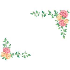 フリーイラスト, ベクター画像, EPS, 背景, フレーム, 対角フレーム, 植物, 花, 薔薇(バラ)