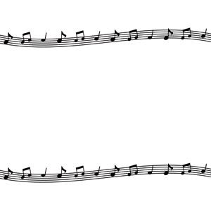 フリーイラスト, ベクター画像, AI, 背景, フレーム, 上下フレーム, 音楽, 音符, 楽譜