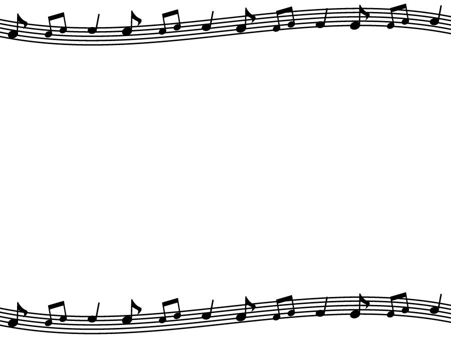 フリーイラスト 五線譜と音符の飾り枠