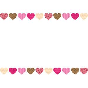 フリーイラスト, ベクター画像, AI, 背景, フレーム, 上下フレーム, ハート, 2月, バレンタインデー