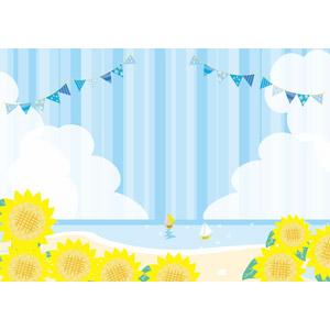 フリーイラスト, ベクター画像, AI, 背景, 海, ビーチ(砂浜), 向日葵(ヒマワリ), 夏, フラッグガーランド, ヨット, 積乱雲(入道雲)