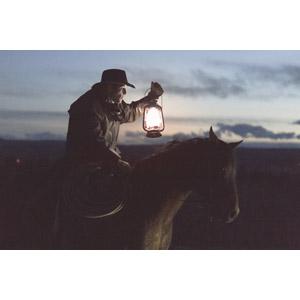 フリー写真, 人物, 男性, 外国人男性, 照明器具, ランタン, 人と動物, 動物, 哺乳類, 馬(ウマ), 乗馬, カウボーイハット, カウボーイ, 横顔