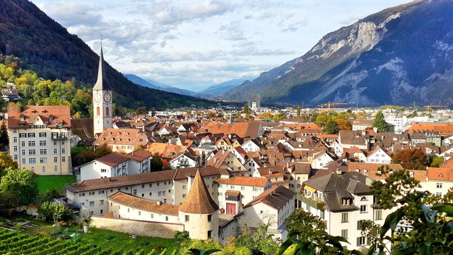 フリー写真 スイスのクールの旧市街の街並み