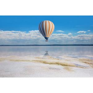 フリー写真, 風景, 塩湖, トゥズ湖, 乗り物, 熱気球, トルコの風景