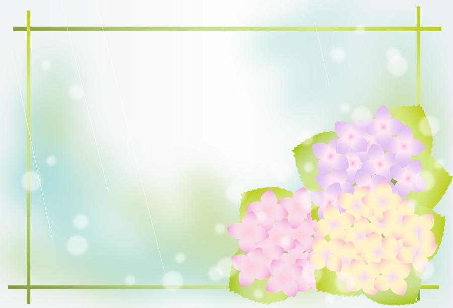 フリーイラスト 紫陽花と雨の飾り枠