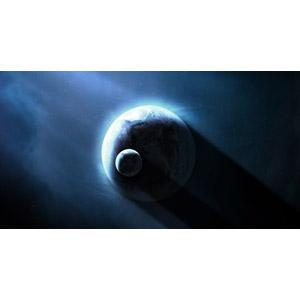 フリーイラスト, 宇宙, 天体, 惑星, 地球, 月, 太陽光(日光)