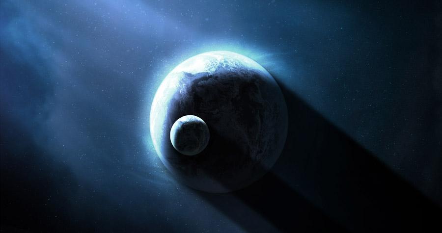 フリーイラスト 地球に重なる月